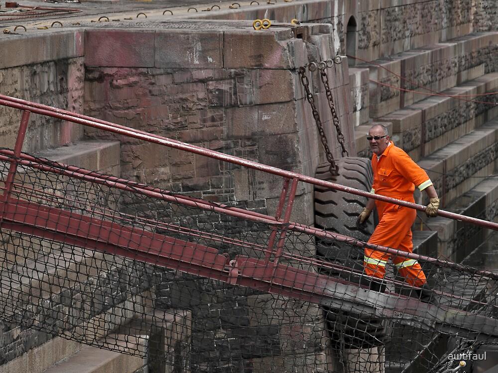 Blue-collar worker in orange by awefaul