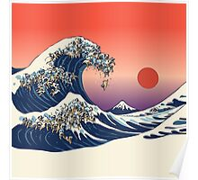 The Great Wave of Pug Poster