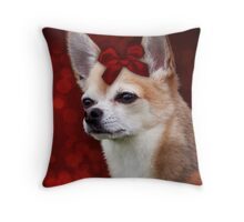 Chihuahua with Red Bow Throw Pillow