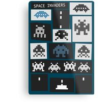 Space Invaders Saul Bass Style Metal Print