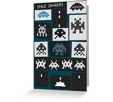 Space Invaders Saul Bass Style Greeting Card