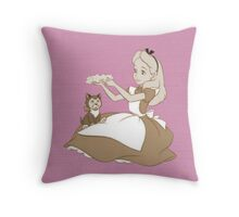 Vintage Alice and Dinah - Alice in Wonderland Throw Pillow