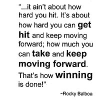 Rocky Balboa Quote How Hard You Get Hit Boxing Inspirational by dottipriceart