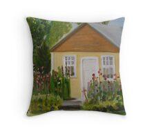 Dorrie's House and Hollyhocks Throw Pillow