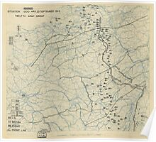 World War II Twelfth Army Group Situation Map September 23 1944 Poster