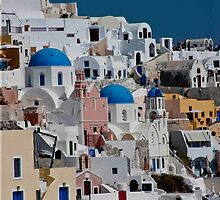 Oia Pastel Cityscape by phil decocco