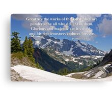 mt shuksan with psalm 11:2-3 Canvas Print