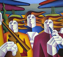 Structured musicians in landscape by Alan Kenny