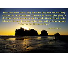 james island sunset with isaiah 24:14-16 Photographic Print
