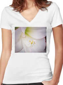 The Heart of a White Amaryllis Women's Fitted V-Neck T-Shirt