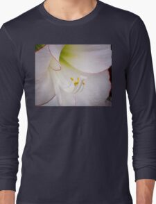 The Heart of a White Amaryllis Long Sleeve T-Shirt