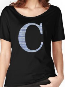 Letter C Blue Watercolor Stripes Monogram Initial Women's Relaxed Fit T-Shirt