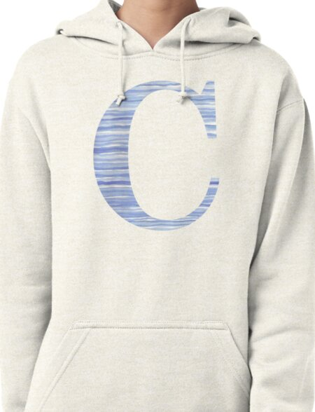 Letter C Blue Watercolor Stripes Monogram Initial Pullover Hoodie