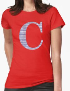 Letter C Blue Watercolor Stripes Monogram Initial Womens Fitted T-Shirt