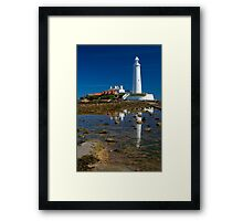 St Mary's Lighthouse Reflection Framed Print