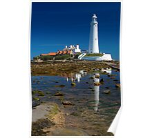 St Mary's Lighthouse Reflection Poster