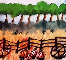 End of the pumpkin patch, watercolor by Anna  Lewis