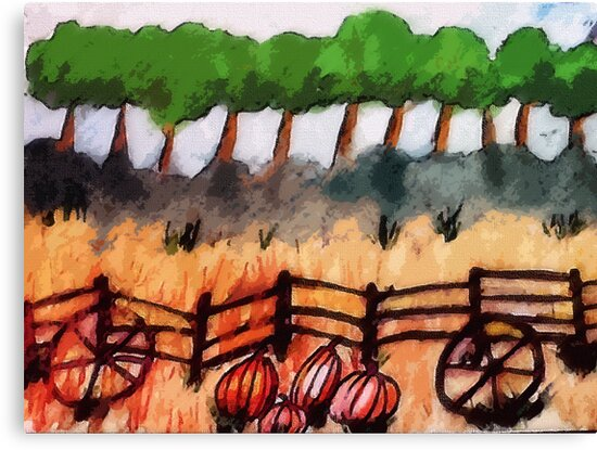 End of the pumpkin patch, watercolor by Anna  Lewis, blind artist