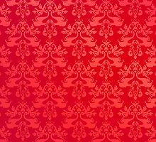 Red elephant damask i phone 4 case by Sarah Trett