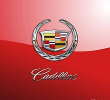 Cadillac - 3D Badge on Red by Serge Averbukh