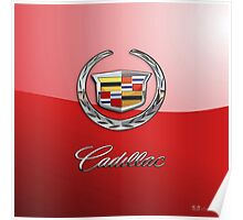 Cadillac - 3D Badge on Red Poster