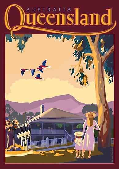 Art Deco Queensland with Queenslander House by contourcreative