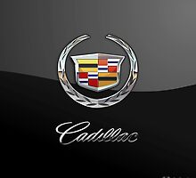 Cadillac - 3D Badge on Black by Serge Averbukh