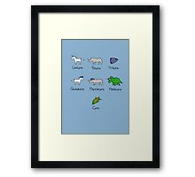 Unicorn, Bicorn, Tricorn, Quadcorn, Pentacorn, Hexacorn ... and Corn Framed Print