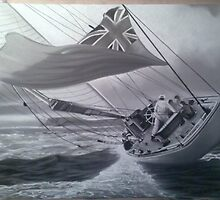 on the edge..... chalk and charcoal drawing by Mark Lee McMeekin