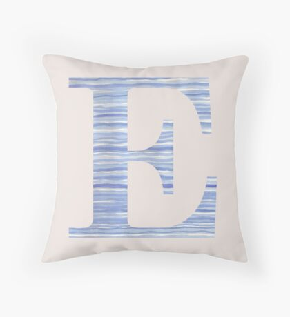 Letter E Blue Watercolor Stripes Monogram Initial Throw Pillow