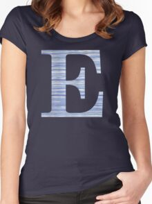 Letter E Blue Watercolor Stripes Monogram Initial Women's Fitted Scoop T-Shirt