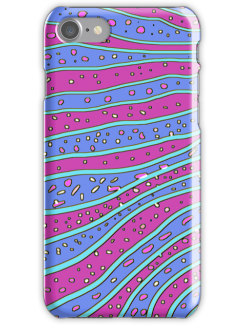 Retro Blue and Purple Waves iPhone and iPad Cases by Betty Mackey