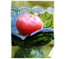 Apple and Glassware Still Life   Poster