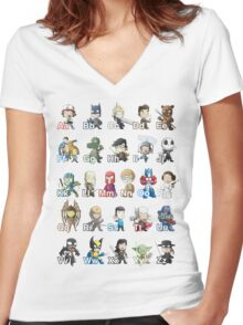 ABC of Geek Culture Women's Fitted V-Neck T-Shirt