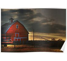Red Barn at Dawn Poster