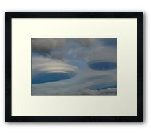 Cloud Spaceship Shapes Framed Print
