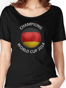 Germany - World Cup Champions 2014 - German Flag Football Soccer Ball Women's Relaxed Fit T-Shirt