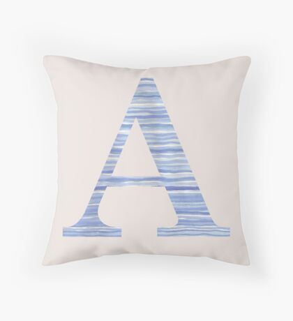 Letter A Blue Watercolor Stripes Monogram Initial Throw Pillow