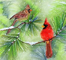 Cardinals in the Snowy Pines by DeniFreeman