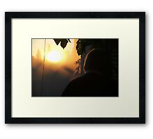 Dad Backlit on Porch Framed Print