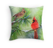 Cardinals in the Snowy Pines Throw Pillow