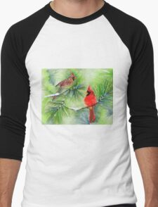 Cardinals in the Snowy Pines Men's Baseball ¾ T-Shirt
