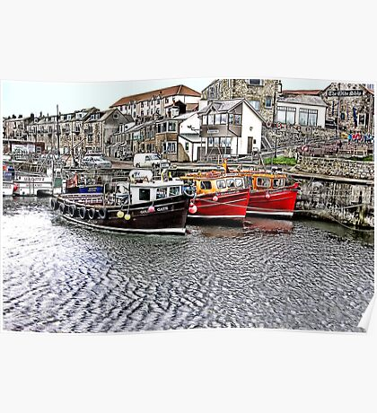 The Harbour at Seahouses,Northumberland Poster