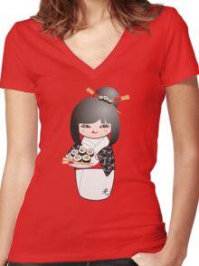 Kokeshi Sushi Women's Fitted V-Neck T-Shirt