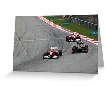 Ferarri's Massa overtakes Lotus Renault's Petrov Greeting Card