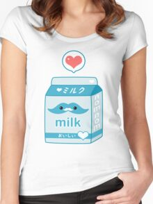Cute Milk with Mustache Women's Fitted Scoop T-Shirt
