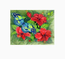 Hibiscus and Butterfly Womens T-Shirt