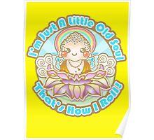 Kawaii Style Baby Buddha on Lotus Flower -  Poster