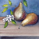 Watercolor 3 Pears by Diane Johnson-Mosley