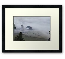 The barn, the cows, and the fog Framed Print